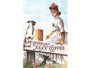 A Victorian advertising trade card showing a dog and woman sitting on a fence with a box of coffee Poster Print by unknown (18 x 24)