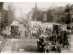 hike lead by General Rosalie Jones from New York to Washington DC for the March 3 1913 National American Woman Suffrage Association parade Photo taken in Newark New Jersey on Broad Street just north o