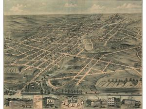 Birds eye view of the city of Akron Summit County Ohio 1870 Poster Print (18 x 24)