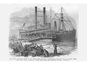 Contrabands Unload stores for the army at Baton Rouge Louisiana Steamers North Star and Iberville Poster Print by Frank  Leslie (18 x 24)