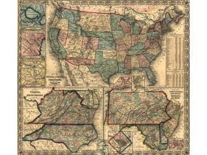 Insets County map of Virginia and North Carolina - County map of Pennsylvania New Jersey Maryland and Delaware Hampton Roads -Washington DC - Pensacola Bay- Map of Charleston Harbor - Vicinity of New