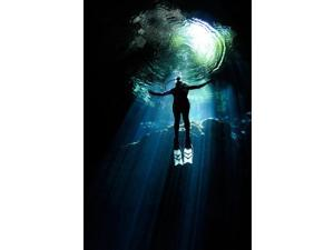A cavern diver ascends in the cenote system at Yucatan Peninsula Mexico Poster Print by Karen DoodyStocktrek Images (11 x 17)