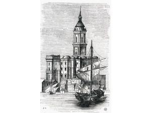 View Of Malaga Cathedral From The Port 19Th Century Print From The Viaje Ilustrado Mlaga Costa Del Sol Spain Poster Print (12 x 19)