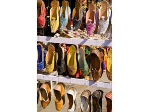 India Rajasthan Jaipur Shoes For Sale For Shopping In Downtown Center Of The Pink City Poster Print (12 x 18)