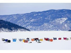 Ice Fishing Huts On Saguenay River; Saguenay Lac-Saint-Jean Quebec Canada Poster Print (18 x 12)