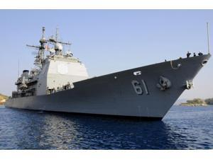 USS Monterey arrives at the for a routine port visit in Souda Bay, Greece Poster Print (34 x 23)