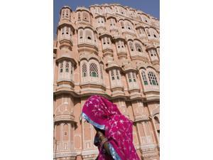 At Hawa Mahal City Palace, Jaipur's most distinctive landmark; Jaipur, Rajasthan State, India Poster Print (12 x 19)