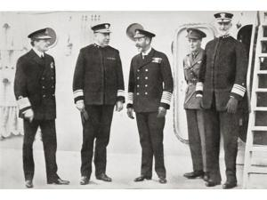King George V Visits The Fleet At Rosyth Edinburgh Scotland In 1918 From Left Admiral Beatty Admiral Rodman US Navy King George V The Prince Of Wales Later King Edward Viii And Admiral Sims US Navy Da