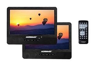 """koramzi pdvddk95 portable 9"""" dual screen one dvd with rechargeable battery / ac adapter / av in / card reader / remote control / car adapter / ir transmitter ready / usb / headrest mounting kit"""