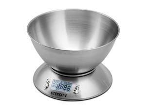 Etekcity 11lb Digital Kitchen Food Scale, Stainless Steel, Alarm Timer & Temperature Sensor