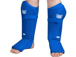 Combat Sports Breathable Slip-On Shin Instep Guards-Blue-Large