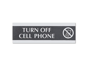 Headline Sign Century Series Office Sign TURN OFF CELL PHONE 9 x 3 4759