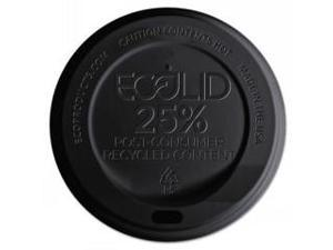 EcoLid 25% Recy Content Hot Cup Lid, Black, F/10-20oz
