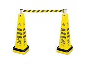 """Portable Barricade Systm""""Caution"""",Eng/Spn,Yellow"""