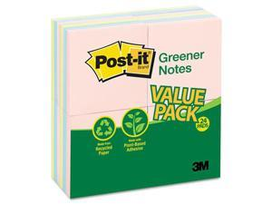 Post-it Greener Notes 654RP-24-AP Original Recycled Note Pads, 100 3 x 3 Sheets, Assorted Pastels, 24 Pads/Pack