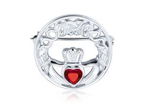 Celtic Claddagh Round Circle Brooch Pin For Women Red Heart Shaped Cubic Zirconia 925 Sterling Silver