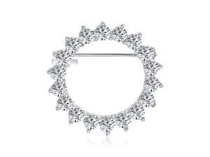 Bridal Eternity  Marquise Cubic Zirconia AAA CZ Scarf Round Circle Brooch Pin For Women For Wedding Silver Plated Brass