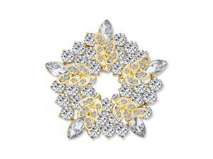 Large Two Tone Golden Crystal Fashion Holiday Circle Wreath Scarf Brooch Pin For Women Gold Plated