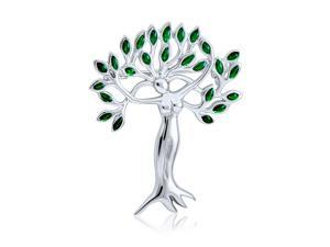 Green Leaves Tree Of Life Goddess Protection Of Nature Mother Earth Brooch Pin For Women 925 Sterling Silver