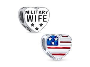 Heart Shape American Patriotic USA Flag Words Military Wife Charm Bead For Women Wife .925 Sterling Silver Fits European Charm Bracelet