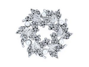 Elegant Bridal Holiday Party Crystal Round White Simulated Pearl Wreath Circle Scarf Brooch Pin For Women Wedding