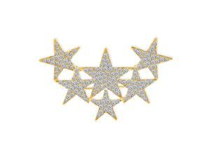 Large Big Statement Fashion Celestial Patriotic USA American Rock Star Sparkly Six Crystal Stars Scarf Brooch Pin For Women Teens Gold Plated