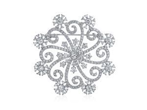 Large Frozen Winter Swirl Holiday Party CZ Cubic Zirconia Scarf Christmas Statement Snowflake Brooch Pin For Women Silver Plate Brass