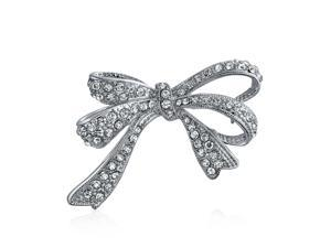 Winter Wedding Holiday White Glittering Crystal Bridal Fashion Large Statement Ribbon Bow Scarf Brooch Pin For Women Silver Plated
