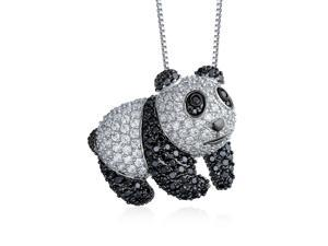 Panda Bear Pendant Necklace For Women Black And White Cubic Zirconia CZ Rhodium Plated 16 Inch Chain