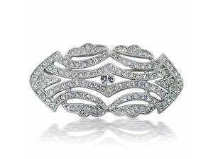 Large Crystal Fashion Art Deco Vintage Style Gatsby Inspired Scarf Brooch Pin For Women Silver Plated Brass