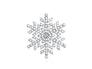 Bling Jewelry Christmas Gifts White Simulated Pearl Snowflake Brooch Pin Rhodium Plated FAJ-DBH00416