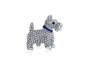 Wire Hair Fox Terrier Brooch Silver Finish