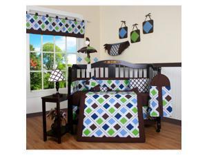 Blue Brown Diamond 13-piece Crib Bedding Set