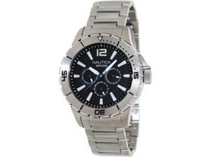 Nautica Men's 'Nsr 05 N19569G' Silvertone Stainless Steel Black Dial Quartz Watch