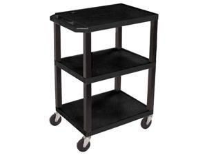 Offex Mobile Multi-Purpose Tuffy Utility Cart with 3 Plastic Storage Shelves
