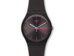 Swatch Men's Originals SUOC700 Black Silicone Quartz Watch with Black Dial