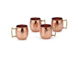 Modern Home Authentic 100% Solid Copper Hammered Moscow Mule Mug Shot Glass - Set of 4
