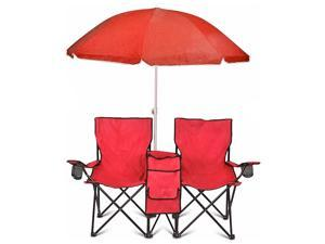 GoTeam Portable Double Folding Chair w/Removable Umbrella, Cooler Bag and Carry Case - Red