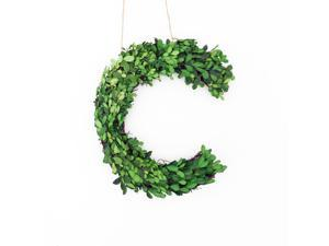 """Modern Home 12"""" Real Preserved Boxwood Monogram Wreath Letters - C"""