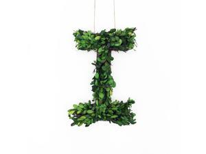"""Modern Home 12"""" Real Preserved Boxwood Monogram Wreath Letters - I"""