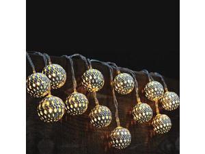 Modern Home Solar LED String Lights - Moroccan Metal Globe Lanterns
