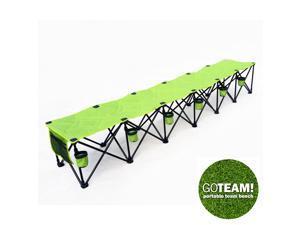 GoTEAM! 6 Seat Portable Folding Team Bench - Green