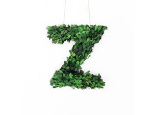 """Modern Home 12"""" Real Preserved Boxwood Monogram Wreath Letters - Z"""