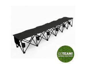 GoTEAM! 6 Seat Portable Folding Team Bench - Black