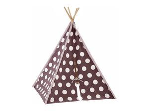 Modern Home Children's Canvas Tepee Set with Travel Case - Brown/White Polka Dot