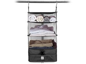 Pack and Fly Portable Luggage System - Packing Shelves & Packing Cube Organizer - Medium Black