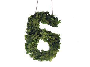 """Modern Home 12"""" Real Preserved Boxwood Monogram Wreath Letters - 6"""