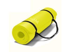 """AUM High Density HD Foam Tech Yoga Exercise Mat - 72"""" x 24"""" x 1/2"""" - Yellow"""