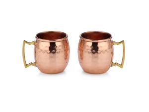 Modern Home Authentic 100% Solid Copper Hammered Moscow Mule Mug Shot Glass - Set of 2