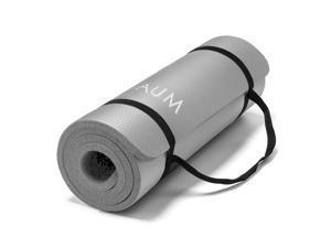 """AUM High Density HD Foam Tech Yoga Exercise Mat - 72"""" x 24"""" x 1/2"""" - Steel Gray"""